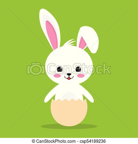 450x470 Happy Easter Rabbit, White Cute Bunny. Vector Illustration On Blue