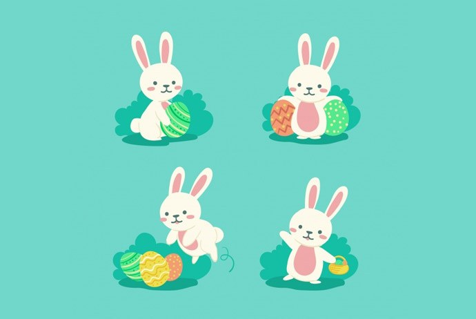 690x462 High Quality Easter Bunnies Vector Clipart. Huge Collection