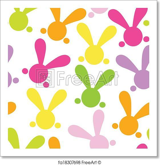 561x581 Free Art Print Of Colorful Seamless Patern With Easter Bunny