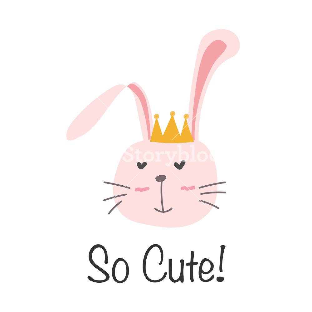 1000x1000 Little Bunny Princess. Cute Bunny Vector Illustration. Royalty