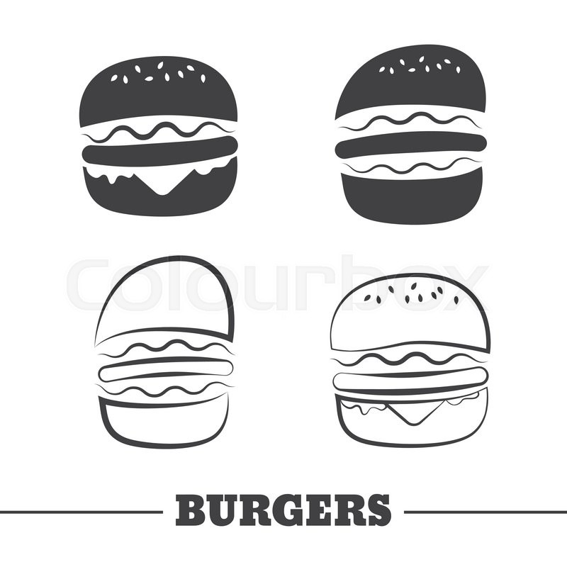 800x800 Burgers Vector Icons Or Elements For Logo. Silhouette Burger