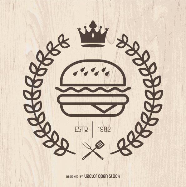 596x597 Illustrated Burger Logo, With Crown And Laurel Wreath. Simple
