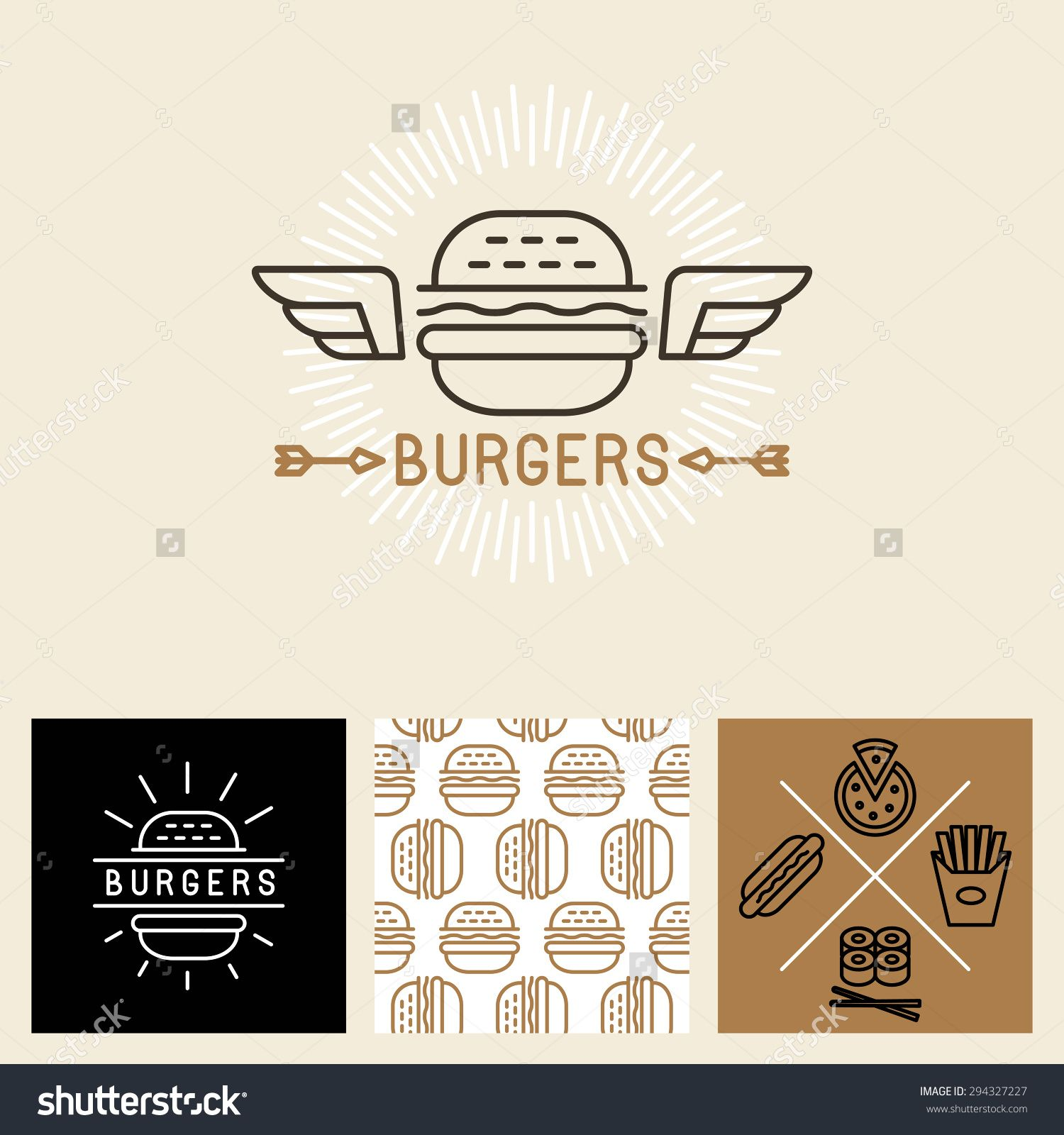 1500x1600 Vector Burger Logo Design Elements And Package Template