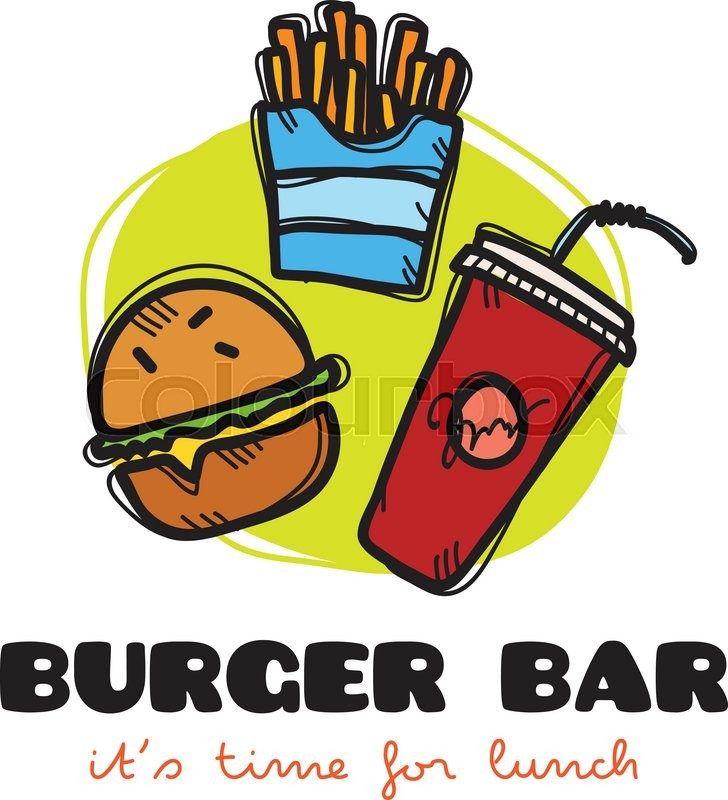 728x800 Vector Funny Cartoon Style Snack Bar Logo With Burger, Fries And