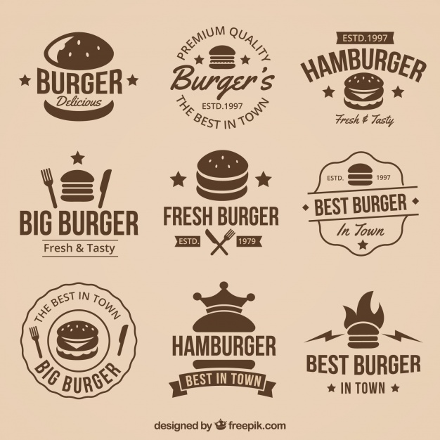 626x626 Vintage Collection Of Great Burger Logos Vector Free Download