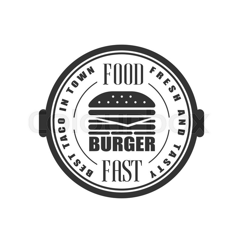 800x800 Best Burger In Town Logo Graphic Design. Black And White Emblem