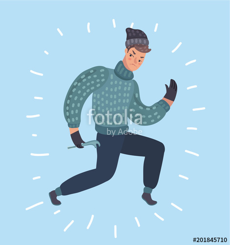 471x500 Cool Vector Flat Character Design On Burglar. Criminal, Thief Or