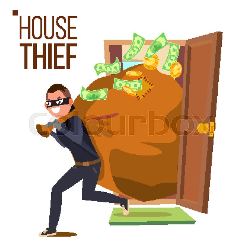 800x800 Thief And Door Vector. Bandit With Bag. Breaking Into House