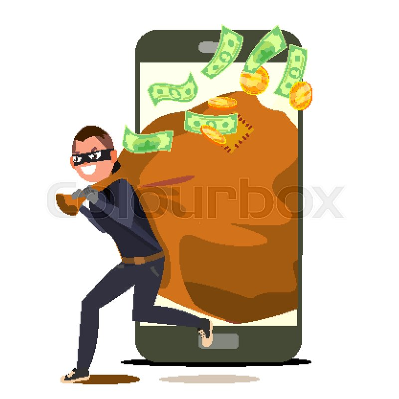 800x800 Thief And Smartphone Vector. Bandit With Bag. Insurance Concept
