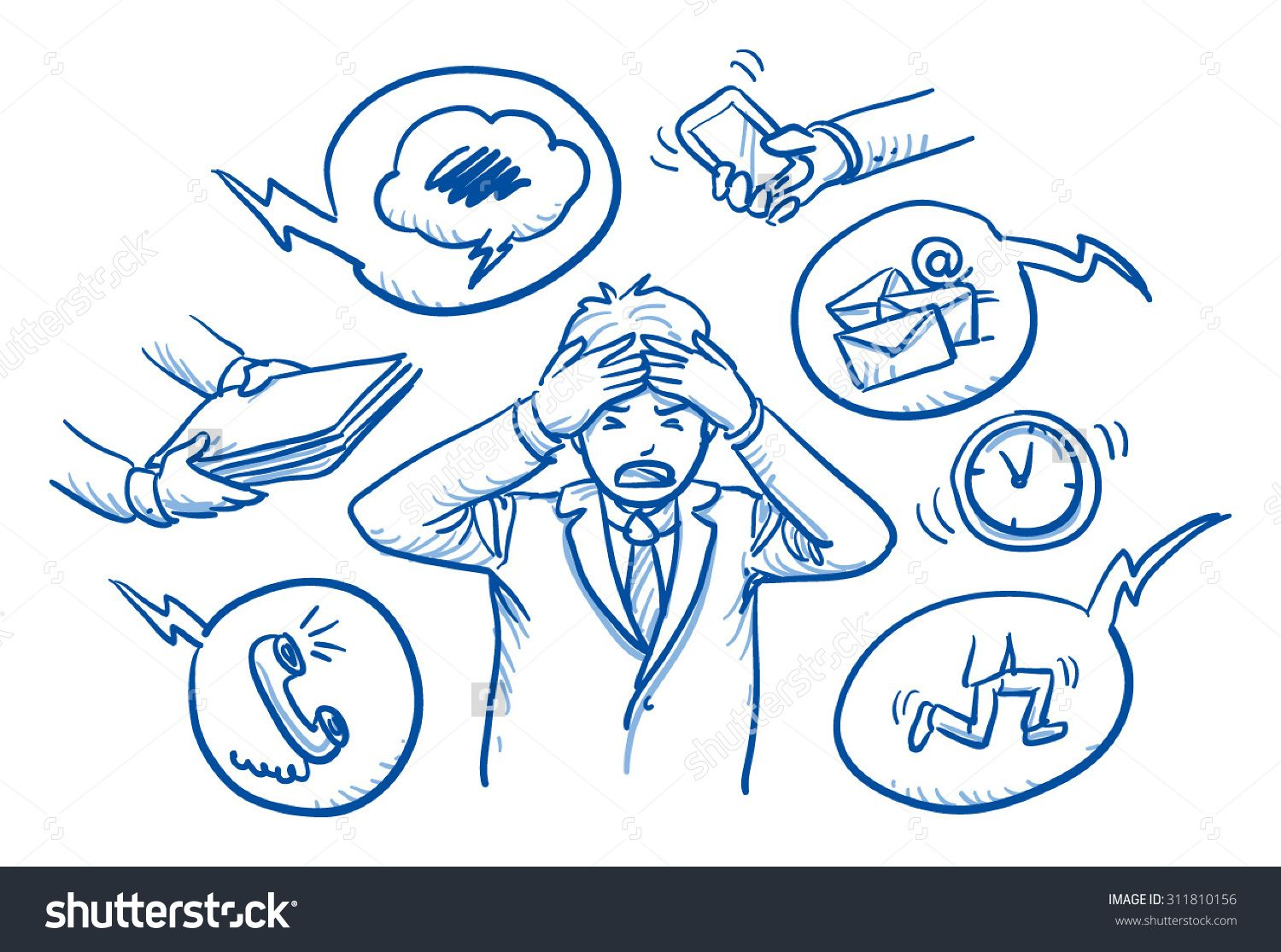 1500x1115 Business Man Holding His Head In Pain, Surrounded By Work Icons