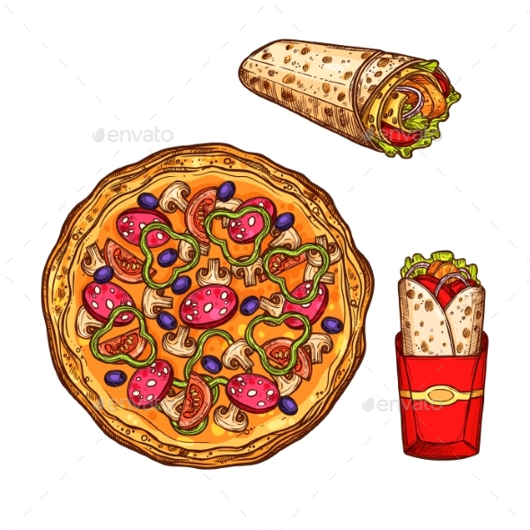 590x590 Fast Food Pizza, Doner Burrito Vector Sketch Icons By Vectortradition