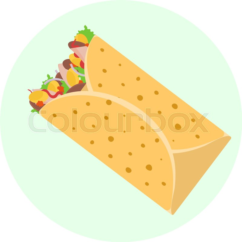 800x800 Flat Vector Delicious Mexican Burrito With Chicken Meet, Corn And