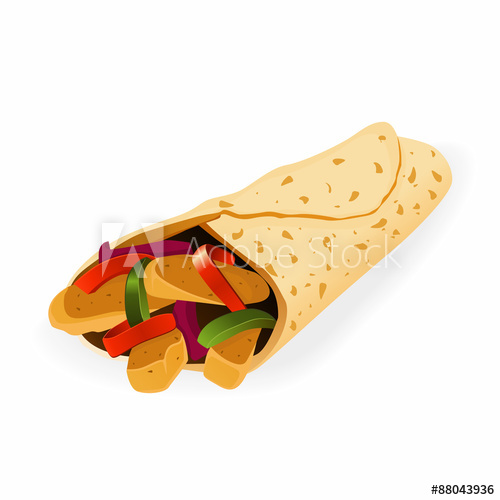 500x500 Mexican Food Fajita Or Burrito Vector Illustration