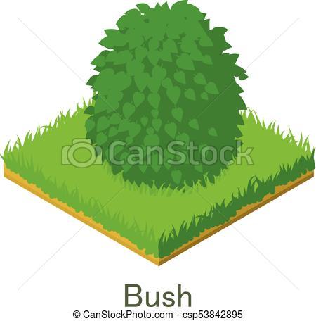 450x456 Bush Icon, Isometric Style. Bush Icon. Isometric Illustration Of