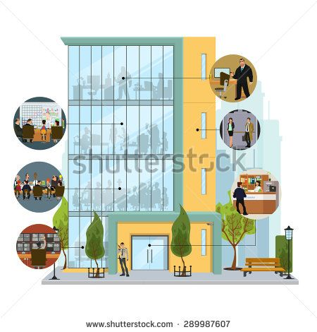 450x470 Business Building Facade. Office Building Exterior With An