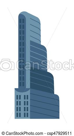 255x470 Modern Multi Storey Building Isolated Vector Icon. Modern Multi