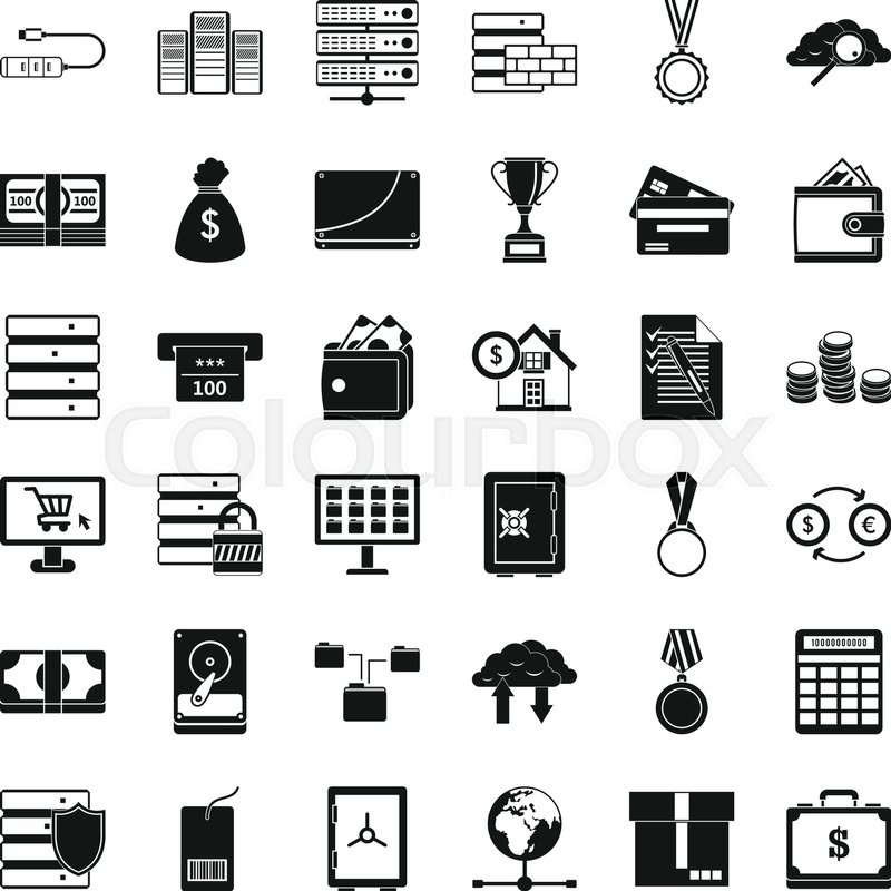 800x800 Business Card Icons Set. Simple Style Of 36 Business Card Vector