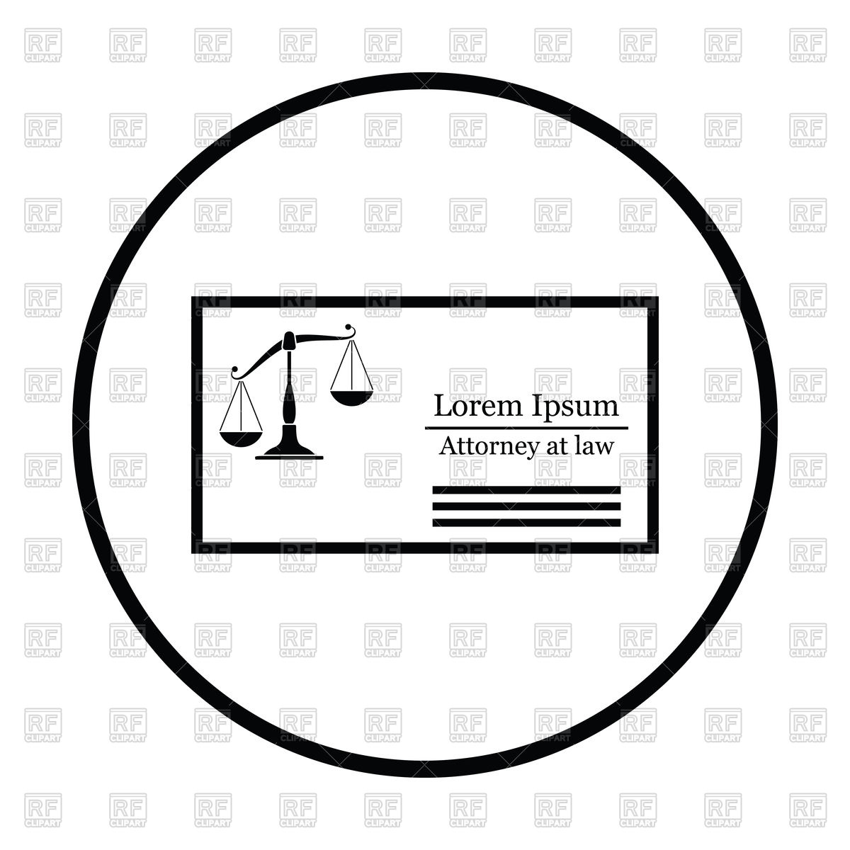 1200x1200 Lawyer Business Card Icon With Scales Vector Image Vector