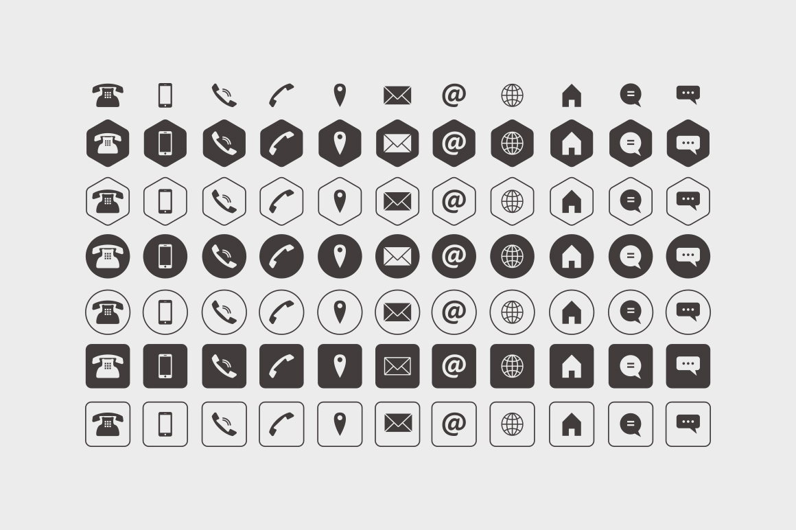 1160x772 Business Card Icons