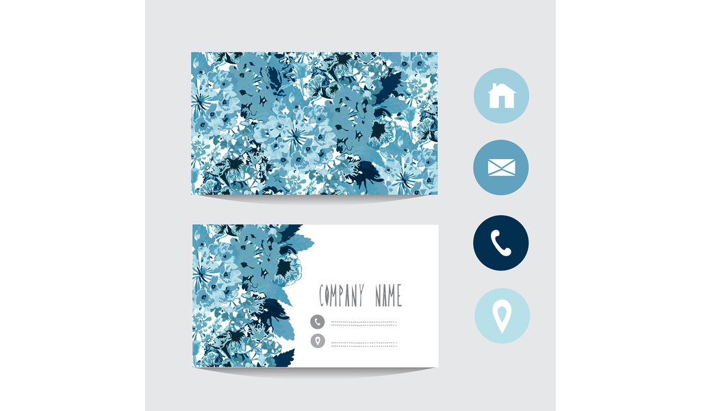 1024x600 Blue Floral Business Card Template With Social Icons Vector Free