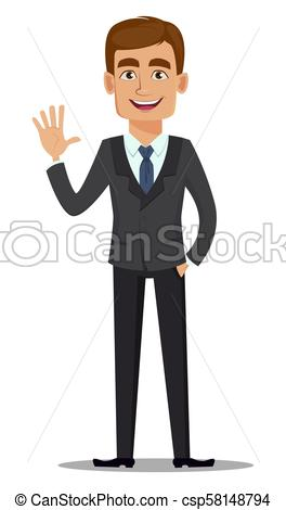 264x470 Handsome Banker In Business Suit. Cheerful Cartoon Character