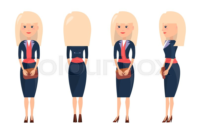 800x534 Beauty Blonde In Business Suit Vector Illustration Of Woman In