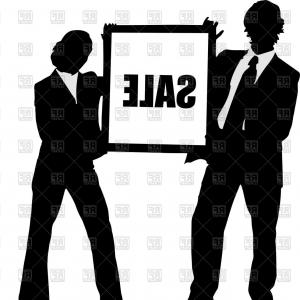300x300 Man And Woman Silhouettes In Business Suits Vector Clipart