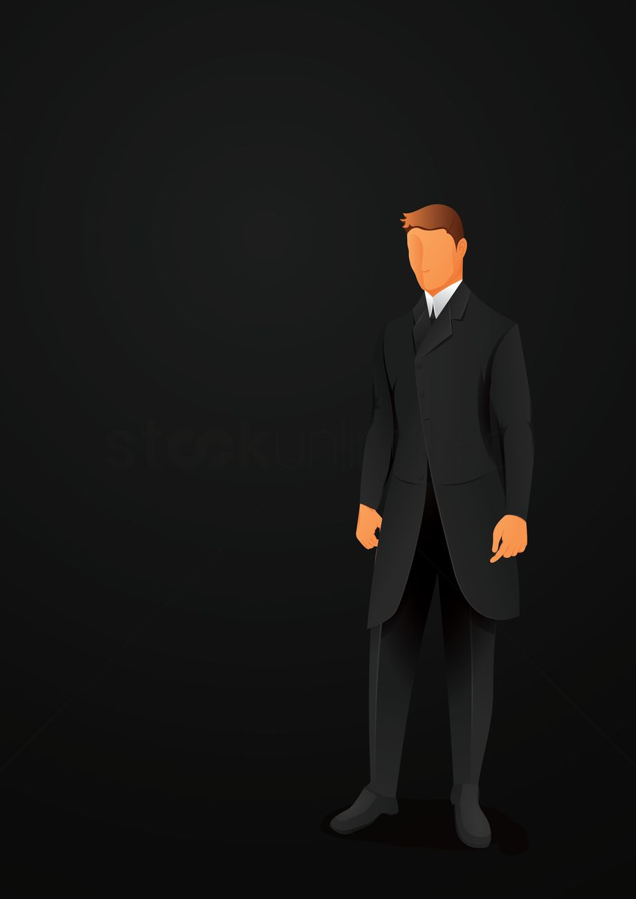 919x1300 Man In A Business Suit Vector Image