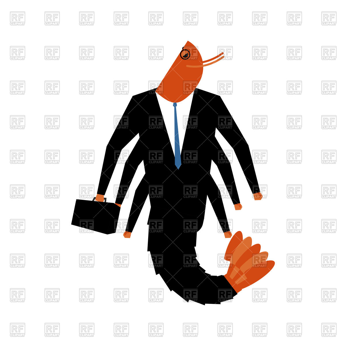1200x1200 Office Plankton. Marine Animal In Business Suit. Vector Image