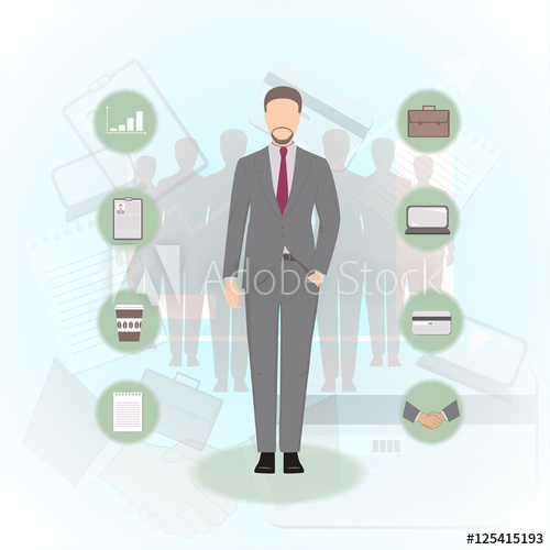 500x500 Set Of Manager Flat Figure And Business Icons Credit Card, Laptop