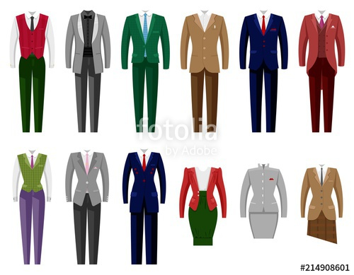 500x389 Business Suit Vector Mail Or Female Corporate Suited Clothes Of