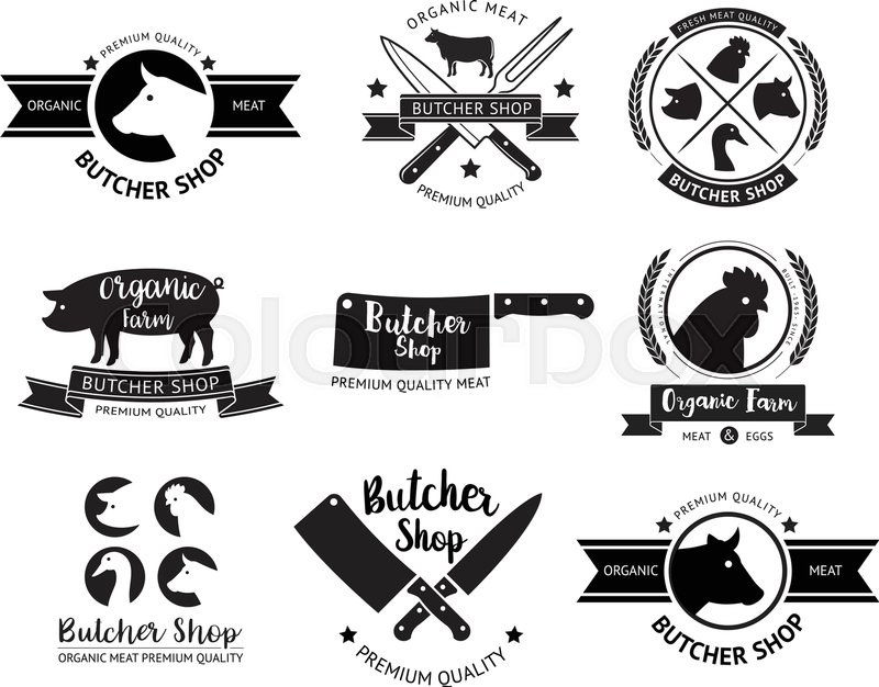 800x626 Butcher Shop Logo And Label. Vector Illustrations. Stock Vector