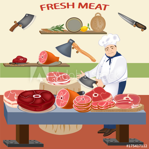 500x500 Fresh Meat And Butcher. Vector Meat Products. Pork, Beef, Ham