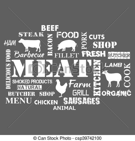 450x470 Meat. Text Set Of Butcher . Vector Illustration.
