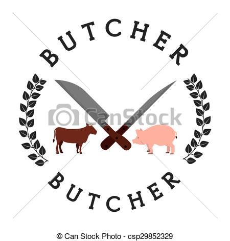 450x470 Seal Butcher Design, Vector Illustration Eps10 Graphic Vector