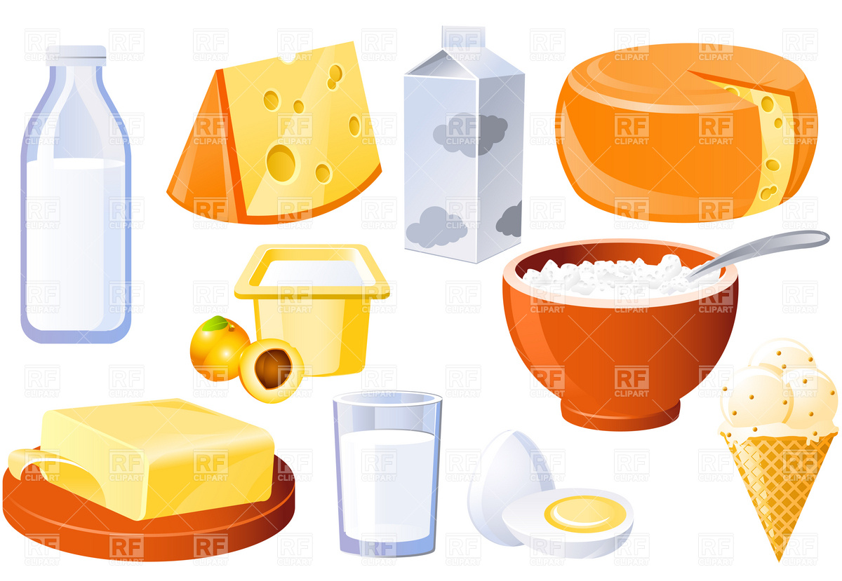 1200x829 Dairy And Poultry Products, Milk, Butter And Cheese Vector Image