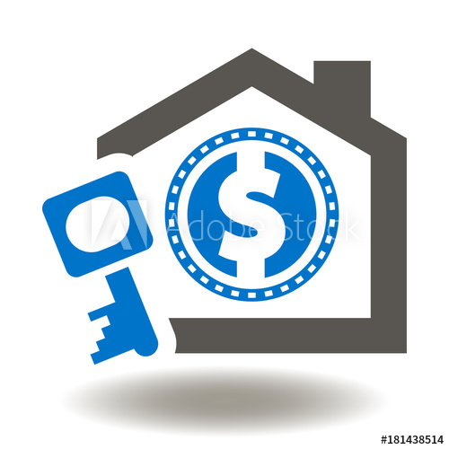 500x500 Mortgage Icon Vector. House Dollar Coin Key Illustration. Real