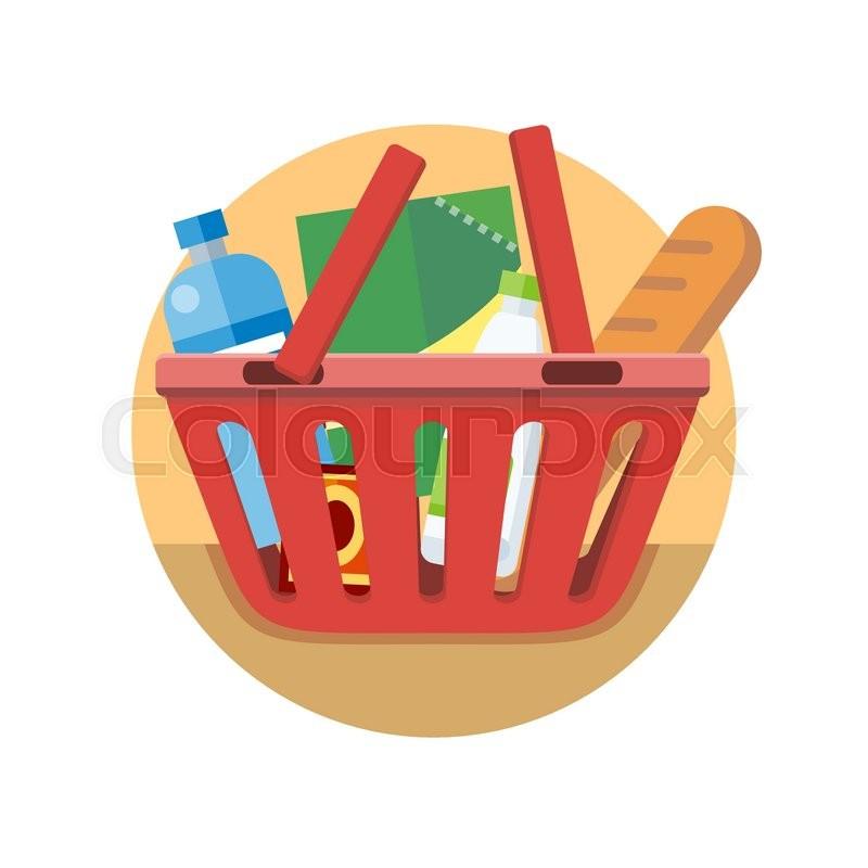 800x800 Shopping Cart With Food Design Flat. Shopping Bag Basket, Buy Icon