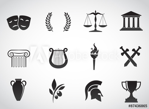 500x366 Greek, Ancient Icon Set. Vector Art.