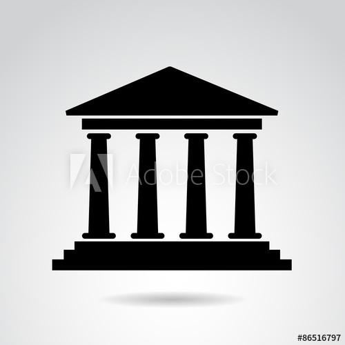 500x500 Ancient, Greek, Roman Temple. Vector Art.