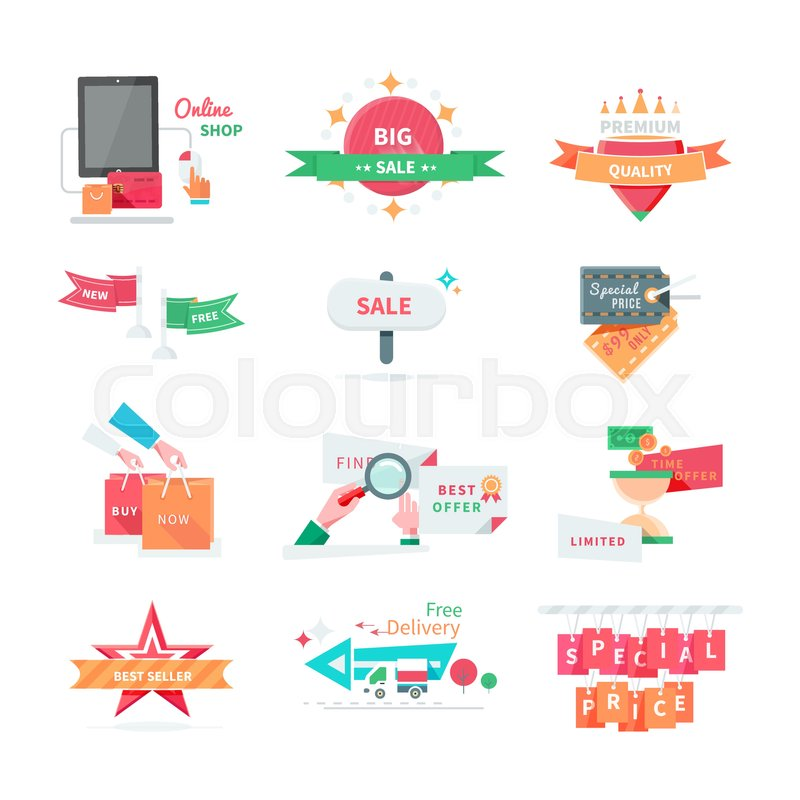 800x800 Business Icons Set. Sale, Best Offer, Special Price, Best Seller