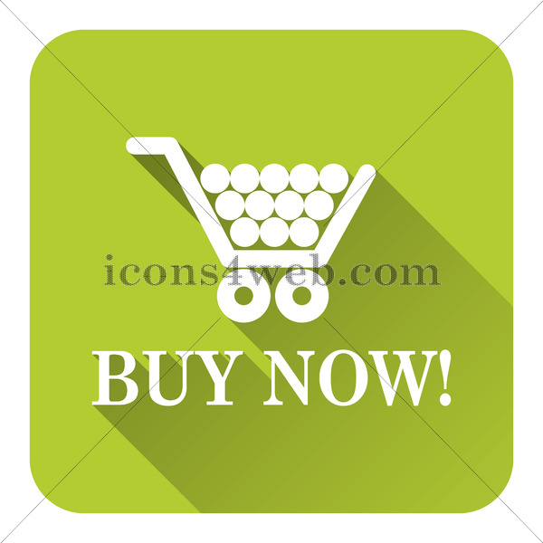600x600 Buy Now Shopping Cart Flat Icon With Long Shadow Vector