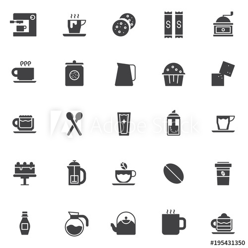 500x500 Coffee Shop Elements Vector Icons Set, Modern Solid Symbol