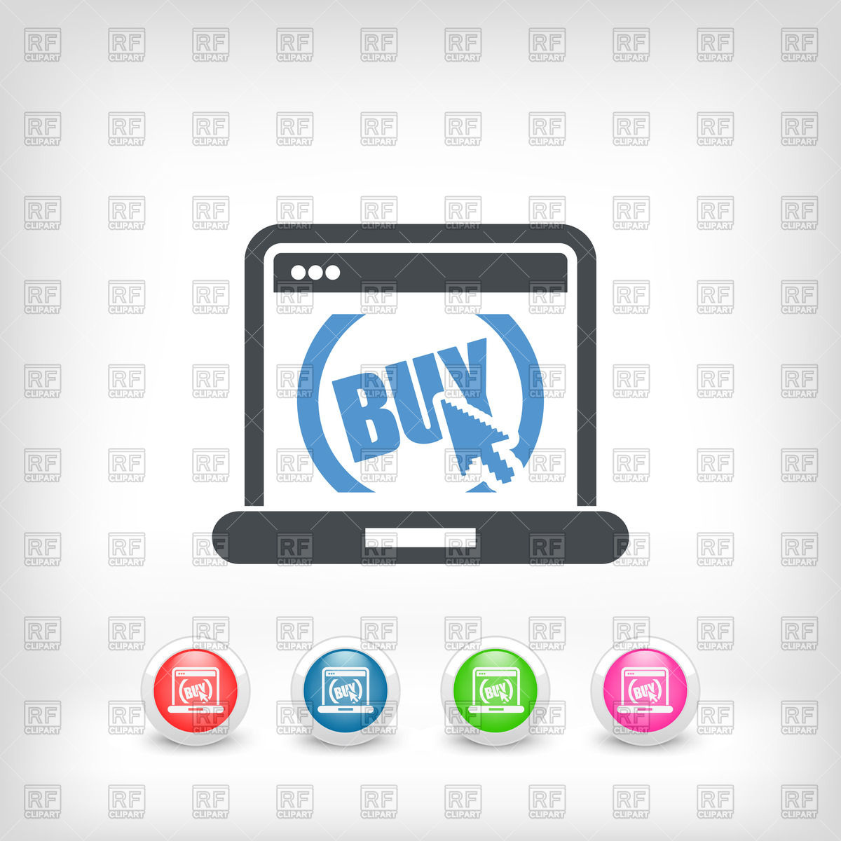 1200x1200 Icons Set Of Buy Button Website Vector Image Vector Artwork Of