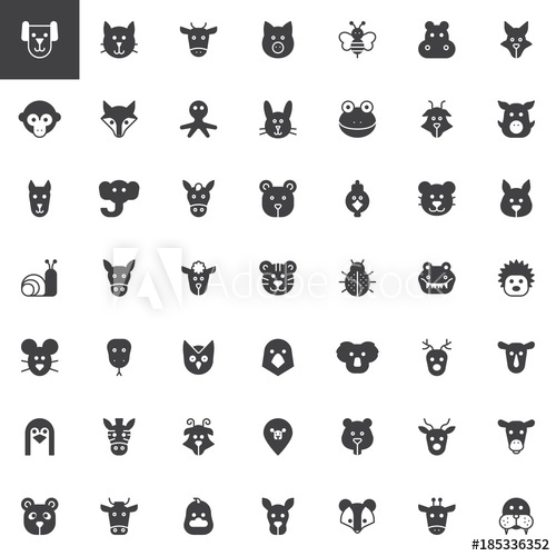 500x500 Animal Head Vector Icons Set, Modern Solid Symbol Collection