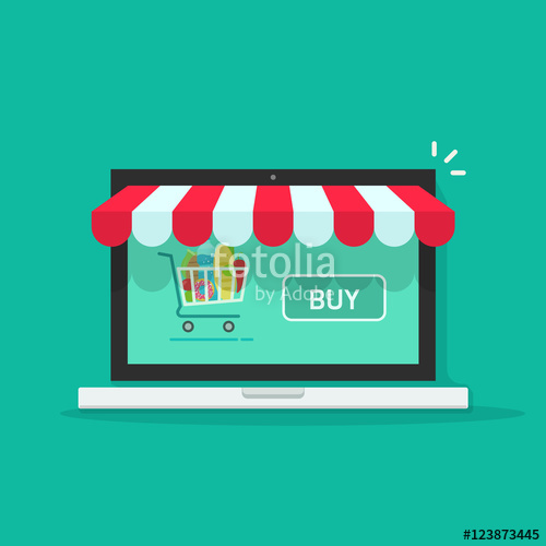 500x500 Concept Of Online Shop, E Commerce Store, Internet Shop Vector