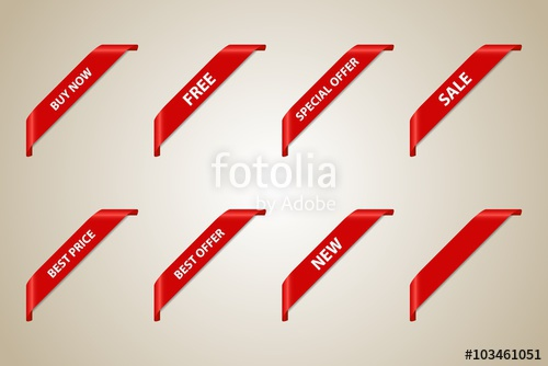 500x334 Red Corner Ribbons Set