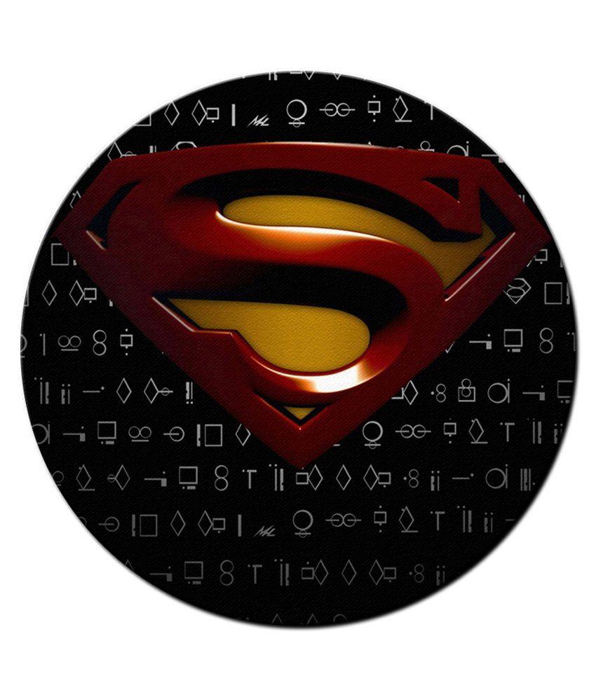 850x995 Shopmantra Multicolour Superman Vector Logo Design Round Mousepad