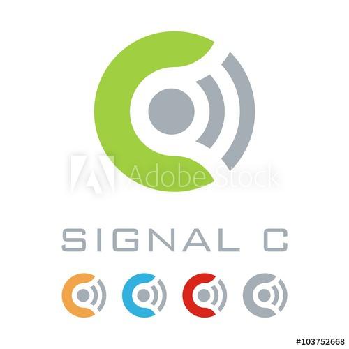 500x500 Signal Logo, Connect Logo, Letter C, Gigital Design Vector Logo