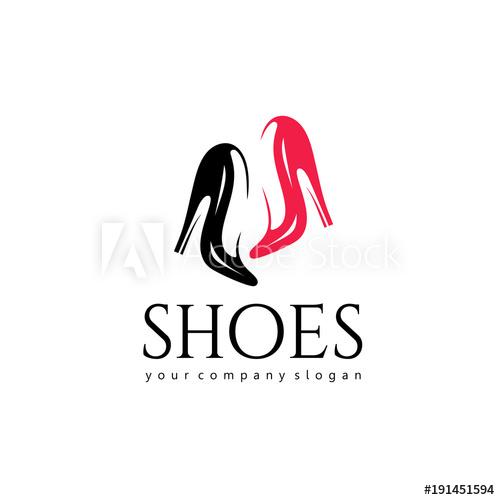 500x500 Vector Logo Design For Shoes Shop. Women Shoes Sign